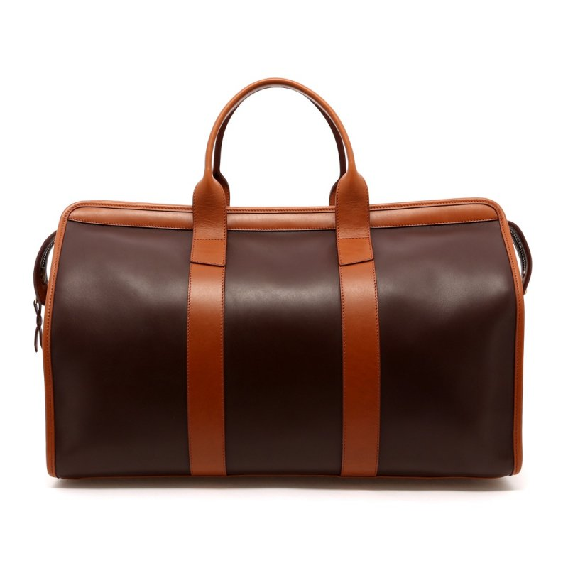 Signature Travel Duffle - Chocolate/Cognac - Belting  Leather  in