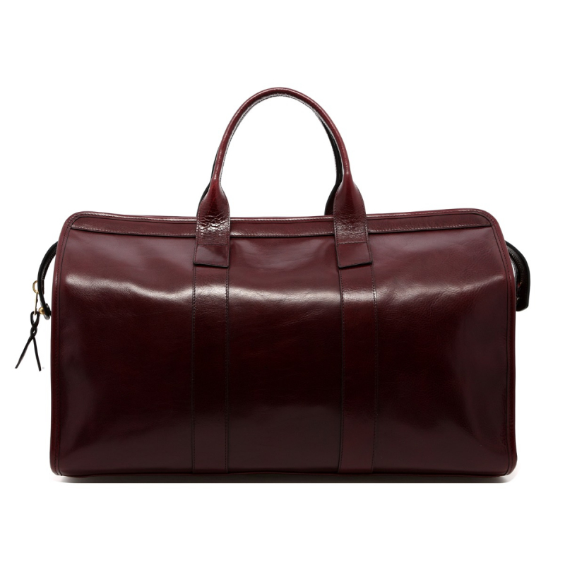 Signature Travel Duffle - Dark Maroon - Glossy Leather  in