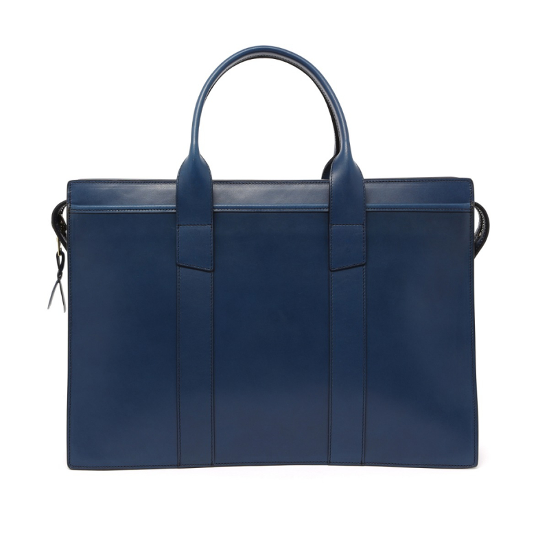 Zip-Top Briefcase - Blue - Harness Leather in
