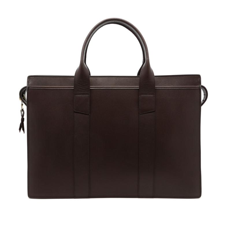Zip-Top Briefcase - Dark Brown - Belting Leather  in