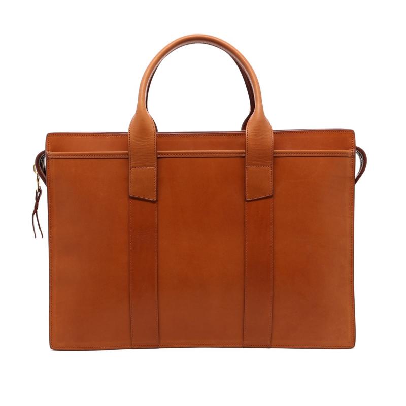 Zip-Top Briefcase - Dark Tan - Belting Leather  in