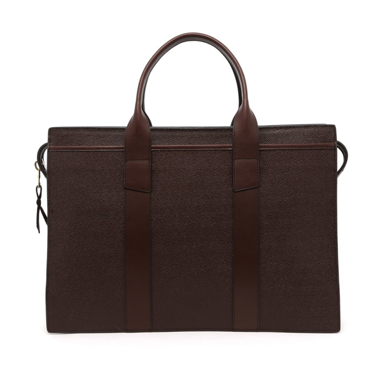 Zip-Top Briefcase - Chocolate - Scotch Grain/Harness Leather in