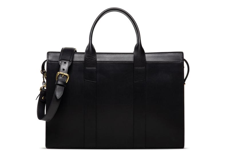 Zip-Top Briefcase-Black-Double in