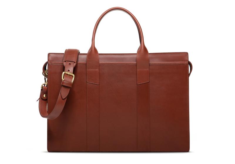 Zip-Top Briefcase-Chestnut-Double in