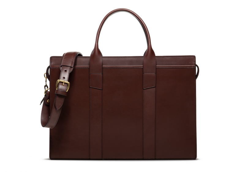 Zip-Top Briefcase-Chocolate-Double in Harness Belting Leather