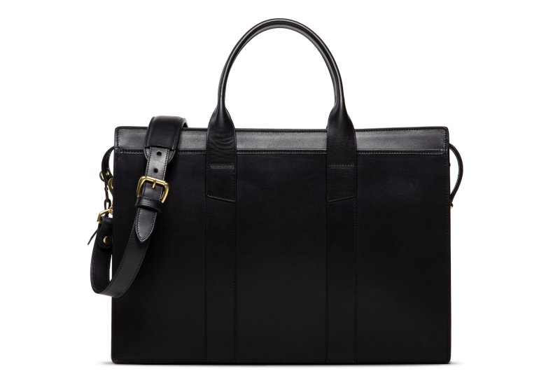 Zip-Top Briefcase-Black-Single in Harness Belting Leather