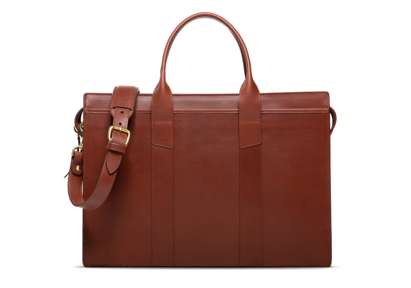 Zip-Top Briefcase-Chestnut-Single in Harness Belting Leather