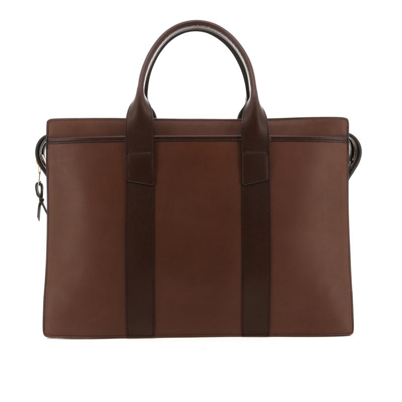 Double Zip-Top Briefcase - Light Brown/Chocolate Trim - Belting in