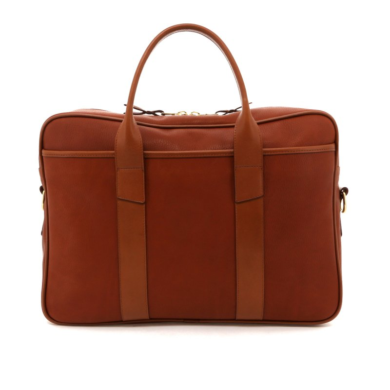Commuter Briefcase - Light Brown / Cognac Pebbled Leather in