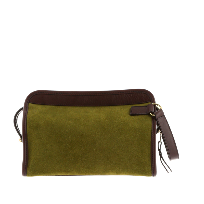 Large Travel Kit - Loden Green/Chocolate - Smooth Tumbled Leather