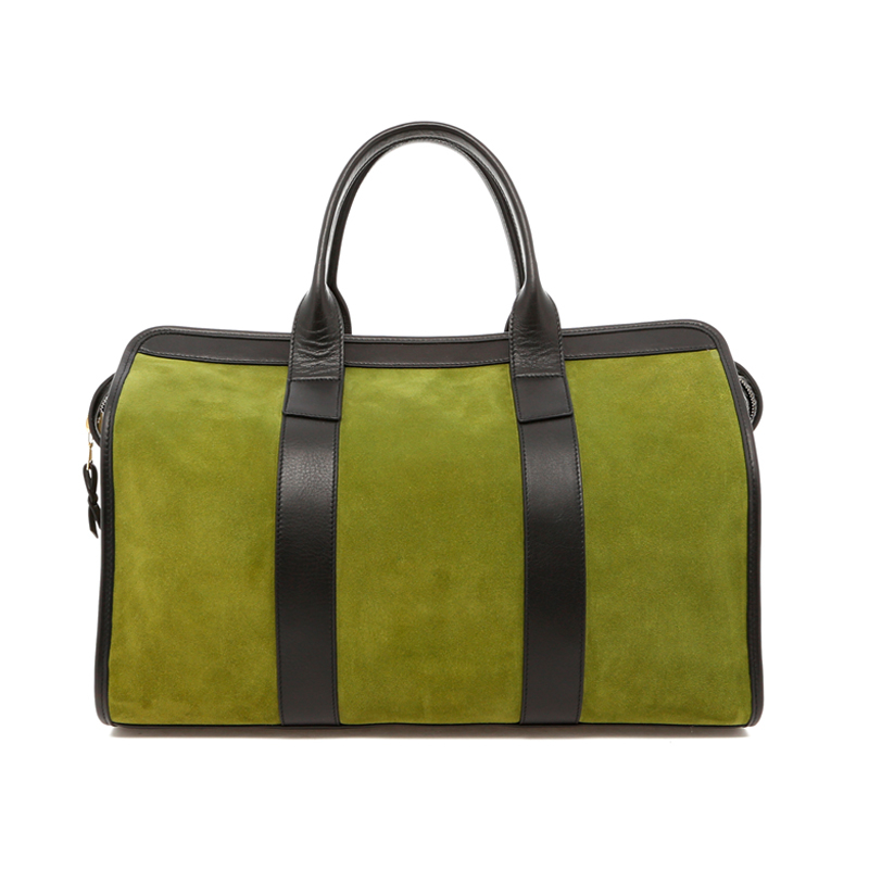 Small Travel Duffle - Loden Green/Black Trim - Suede in