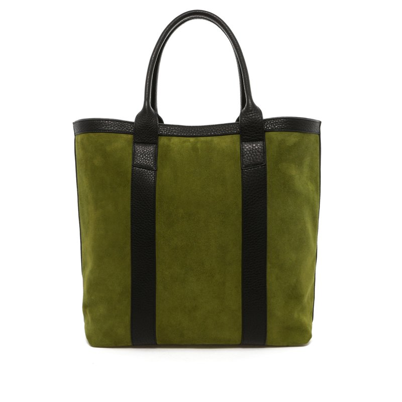 Tall Tote - Loden Green/Black Trim - Suede in