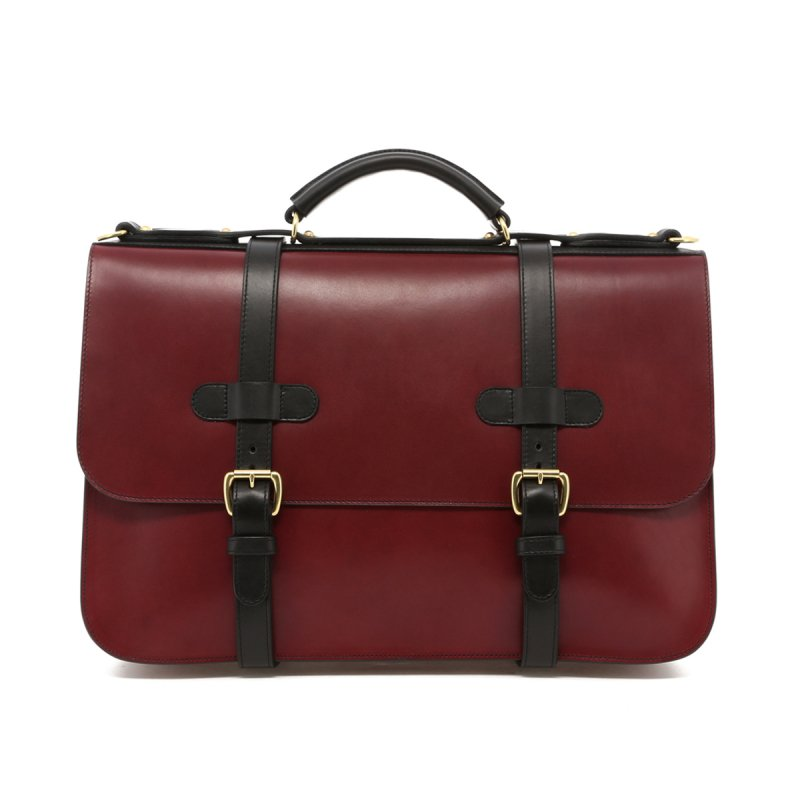 English Briefcase - Maroon/Black Trim - Belting Leather in