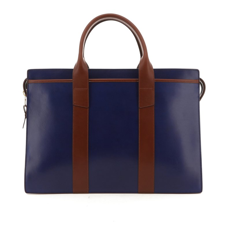 Double Zip-Top - Midnight Blue / Chestnut - Belting Leather in