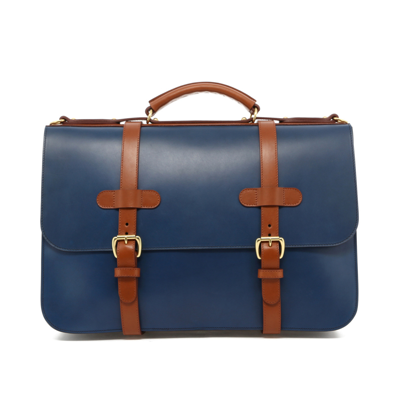 English Briefcase - Midnight/Cognac - Belting Leather in
