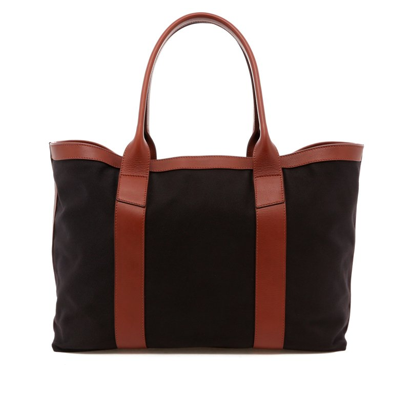 Large Working Tote - Midnight/Chestnut Trim - Twill in
