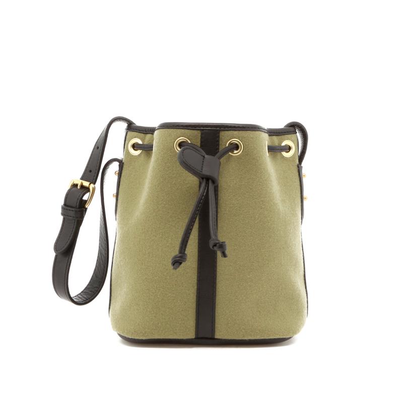 Mini Bucket Bag - Sage Felt / Black Trim  in
