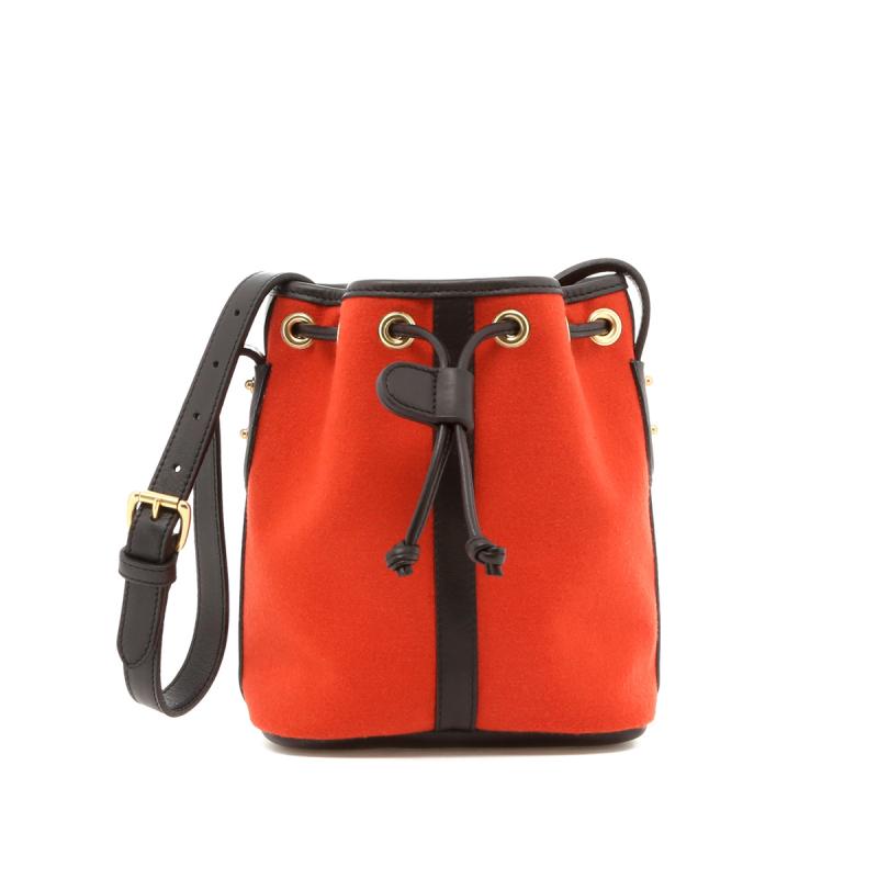 Mini Bucket Bag - Terracotta Felt / Black Trim - Terracotta Interior in