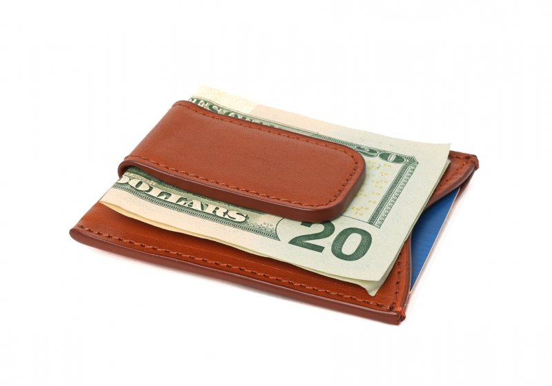 Money Clip Wallet-Cognac in Smooth Tumbled Leather