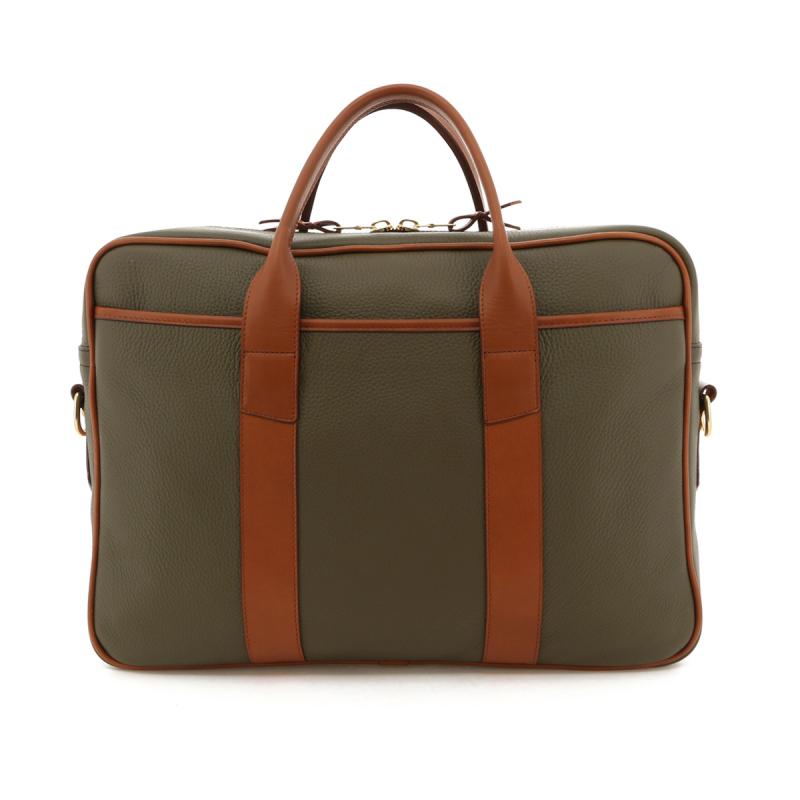 Commuter Briefcase - Moss Green/Cognac Trim - Tumbled in