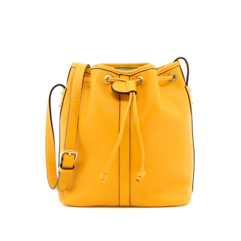 Bucket Bag - Mustard/Lilypad Interior - Tumbled in