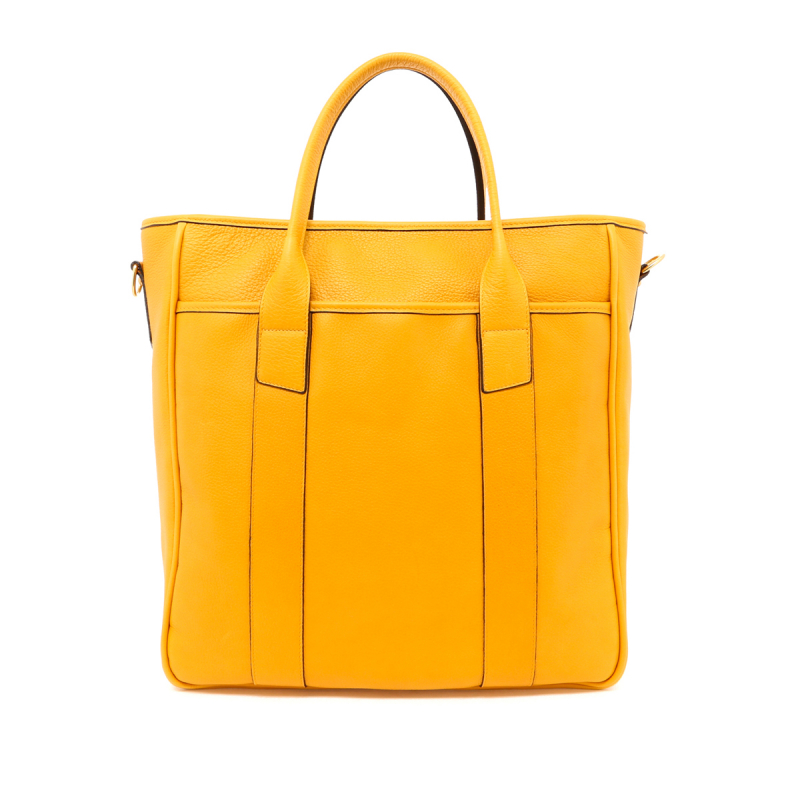 Commuter Tote - Mustard - Tumbled Leather in