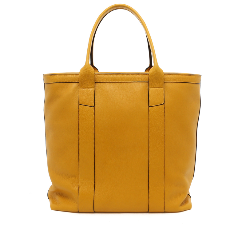 Tall Tote - Mustard Tumbled Leather - Grey Interior - Zip-Top Closure in