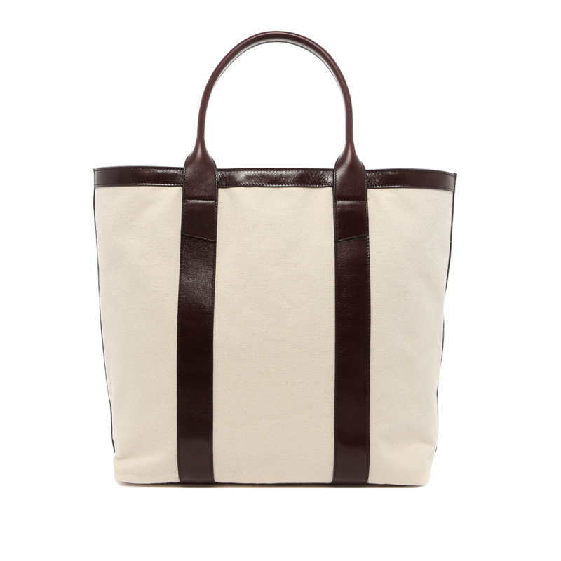 Tall Tote - Natural 18 oz Canvas / Glossy Maroon Trim in