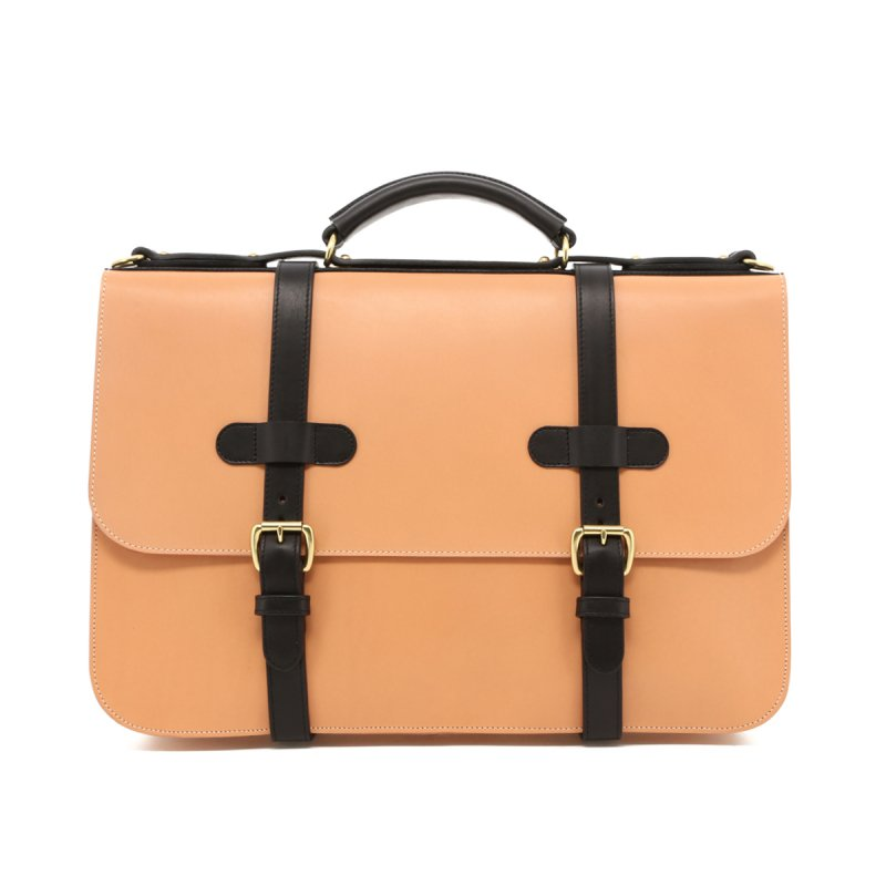 English Briefcase - Natural/Black Trim - Belting Leather in