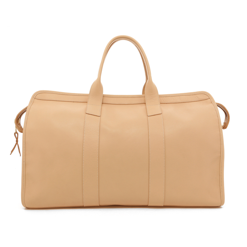 Signature Travel Duffle - Natural Tumbled Leather - Brown Interior in