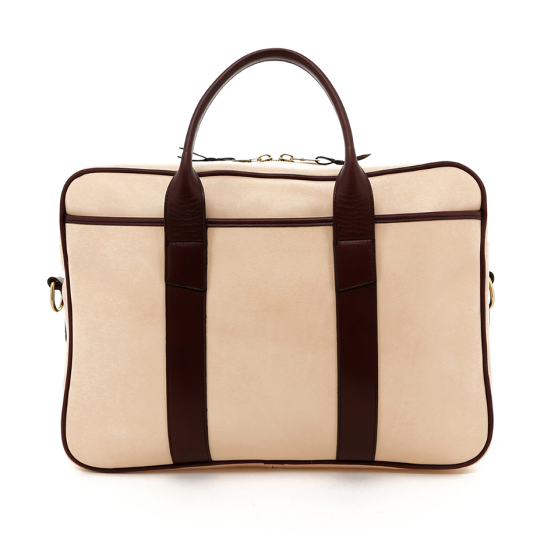 Commuter Briefcase - Natural / Burgundy Tumbled Leather in