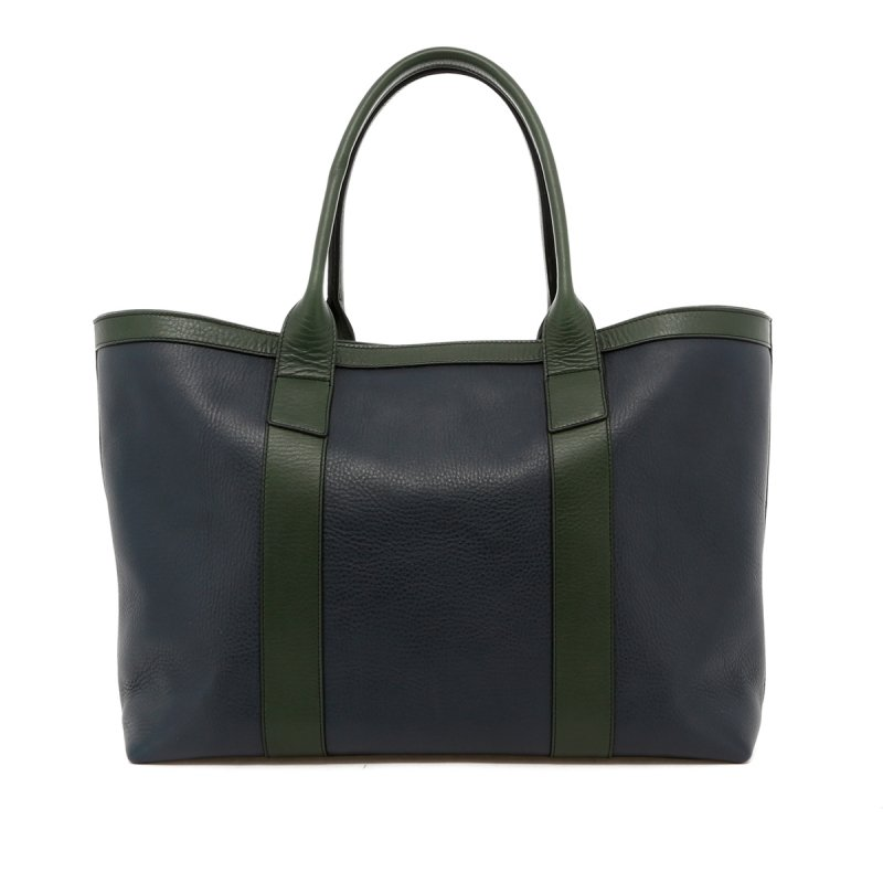 Large Working Tote - Navy / Green Trim - Tumbled Leather in