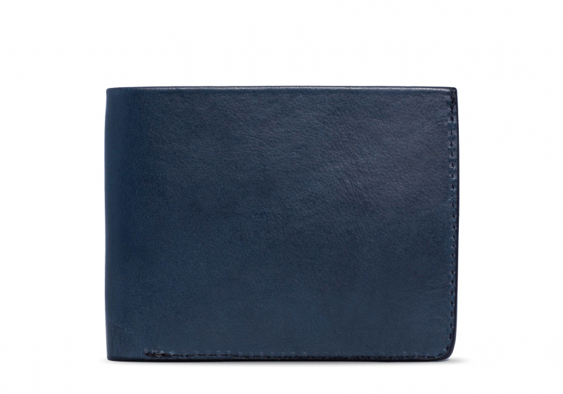 Bifold Wallet Slanted Pockets-Navy in Smooth Tumbled Leather