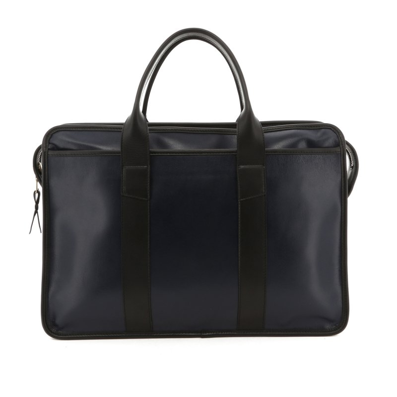 Bound Edge Zip-Top Briefcase - Navy/Black - Goatskin in