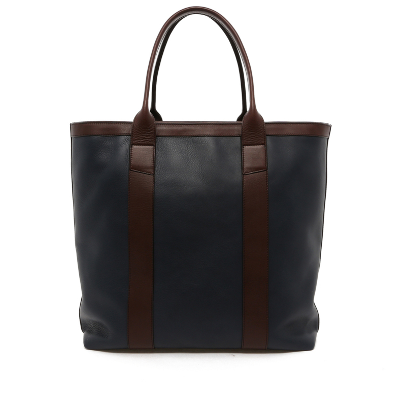 Tall Tote - Navy/Chocolate Trim - Zipper Top - Tumbled Leather in