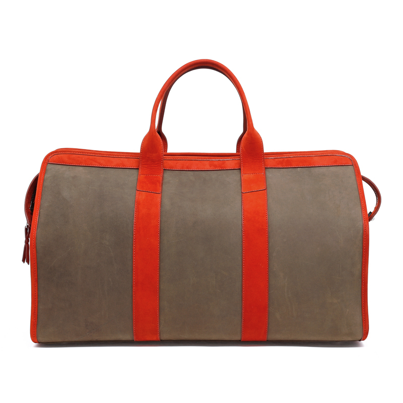 Signature Travel Duffle - Olive/Burnt Orange - Nubuck