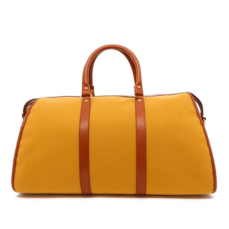 Hampton Duffle -Ochre Felt / Cognac Leather Trim in