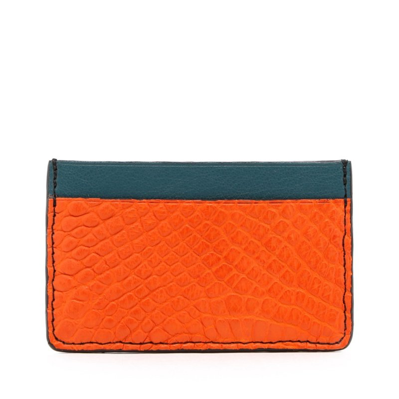 Mini Card Wallet - Orange / Dark Aqua - Alligator - Black Edges in