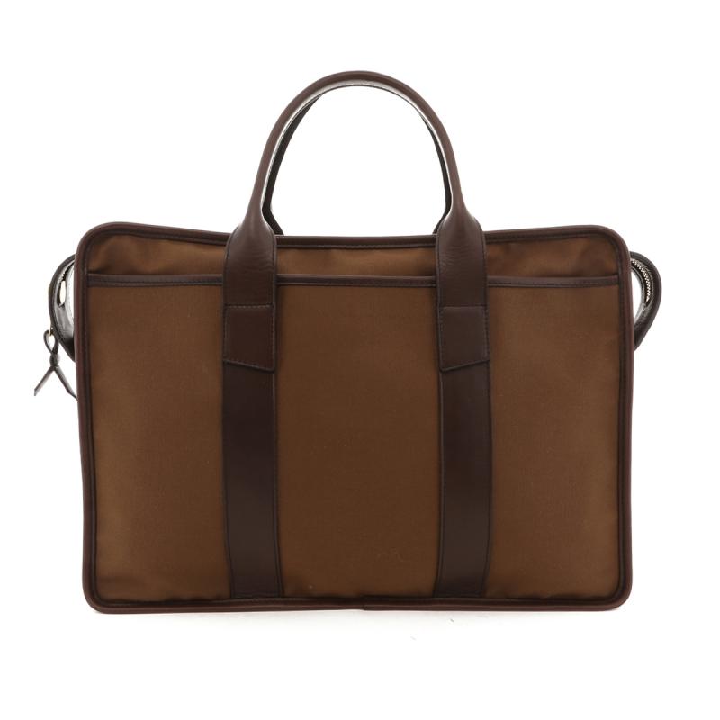Bound Edge Zip-Top Briefcase - Otter Brown/Chocolate - Canvas in