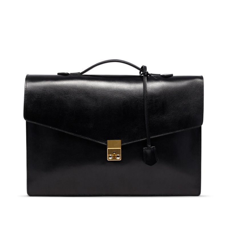 Port Brief - Black - Glossy Tumbled Leather