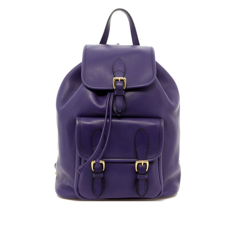 Classic Backpack - Purple - Tumbled Leather in