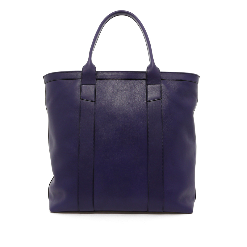 Tall Tote - Purple - Grey Interior - Zipper Top - Tumbled Leather in