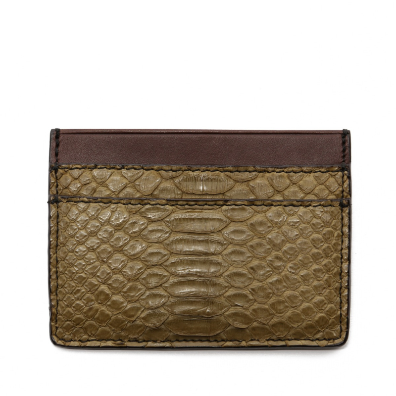 Double Card Wallet - Olive/Chocolate - Python  in