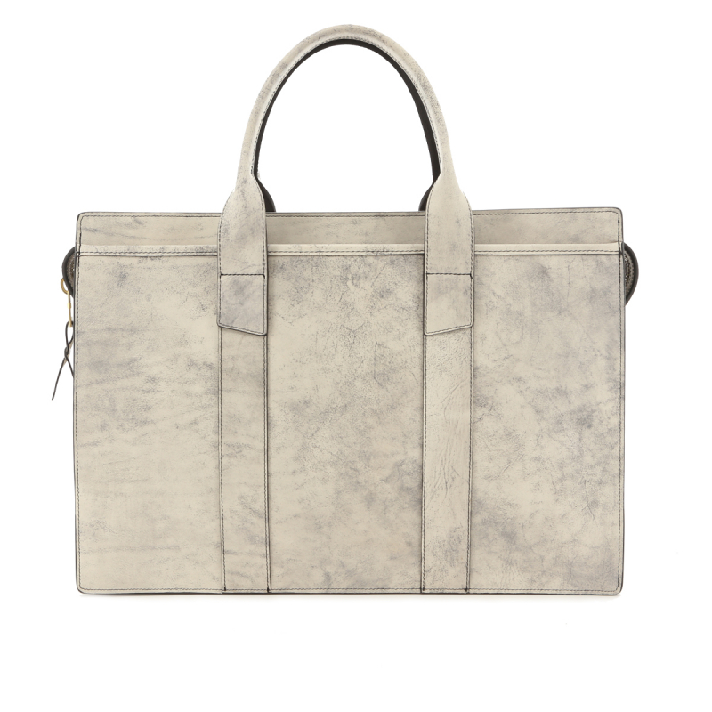 Single Zip-Top Briefcase - Stonewash Marble - Belting Leather in
