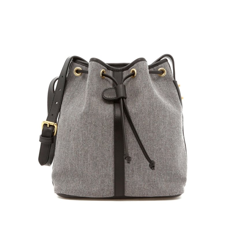 Bucket Bag - Slate Heritage Sunbrella/ Black Trim in