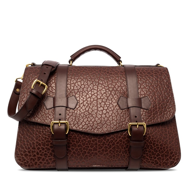 Small Lawyer's Briefcase in Shrunken Grain Leather