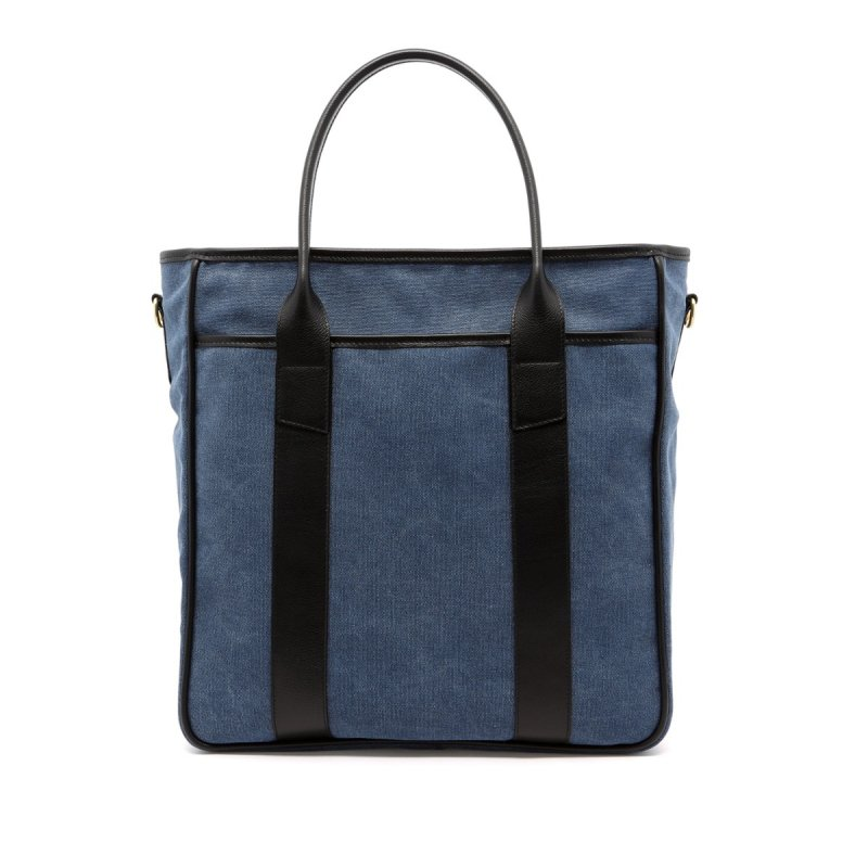 Commuter Tote - Stone Wash Denim/Black - Canvas in
