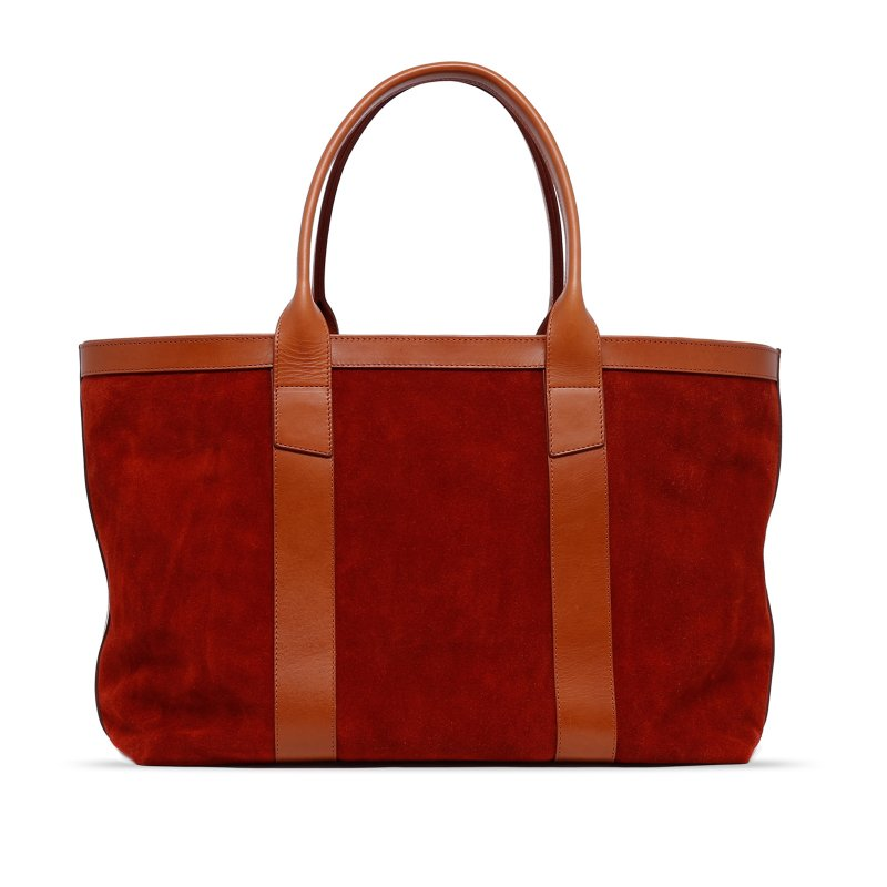 Large Working Tote - Rust/Cognac - Suede in