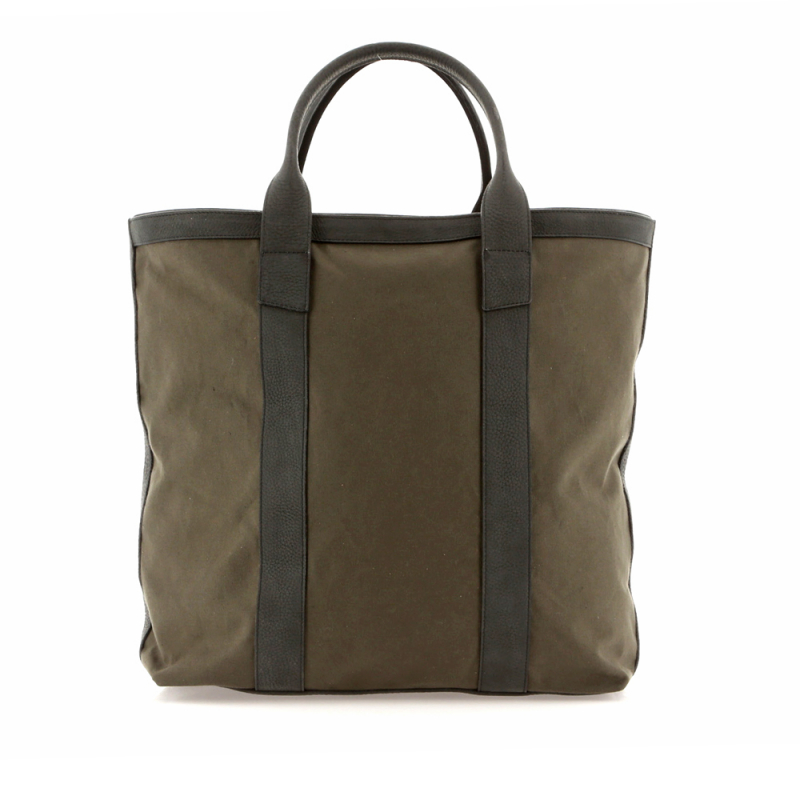 Tall Tote - Olive/Matte Dark Green - Canvas in