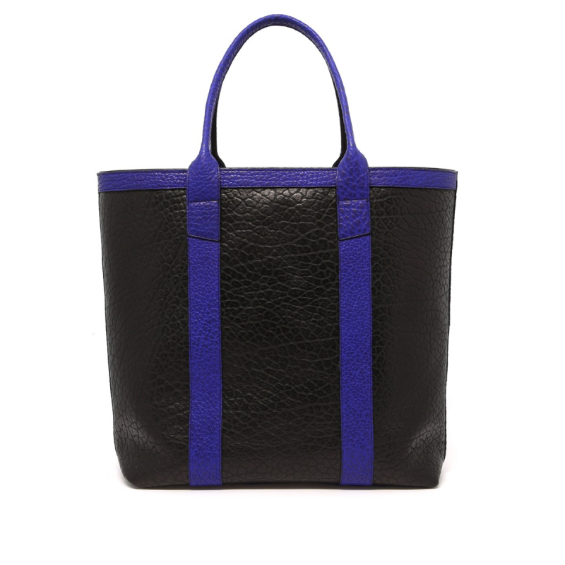 Tall Tote - Black/Vibrant Blue - Shrunken Grain Leather in